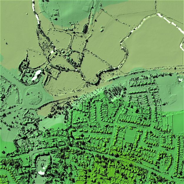 Example of a Digital Surface Model (DSM) for Cymbeline Meadows, showing all surface features.