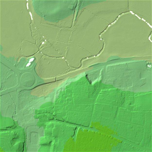 "A Digital Terrain Model (DTM) of Cymbeline Meadows, showing the ""bare earth"" ground level."